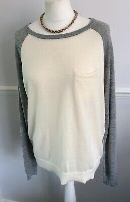 OLIVER BONAS CREAM AND GREY WOOL MIX FINE KNIT JUMPER UK 12 Smart Casual Work