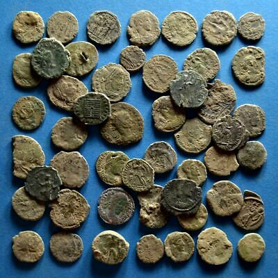 Lot of 50 Uncleaned Chipped Roman Bronze Coins