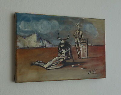 Oil on canvas painting, Anthropomorphic cabinet, signed, Salvador Dali with COA