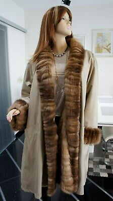 LUXUS PELZ !!! RUSSISCHER ZOBEL SEIDEN MANTEL SABLE SIILK FUR COAT   Gr.46-48.