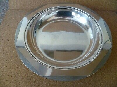A Large Vintage Silver Plated Dish With An Octagonal Pattern, Engine Turned Rim