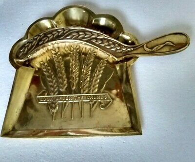 Beautiful Antique Arts & Crafts Brass Crumb Tray & Brush in very good condition
