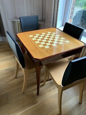 Pristine Antique Inlaid Wood Gaming Roulette Backgammon Ches Table Incl Delivery
