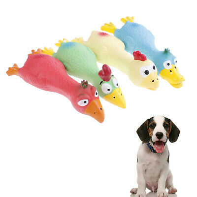 Pet Dog Puppy Cat Chews Toy Natural Latex Chicken Squeaky Sound Play Toys RF