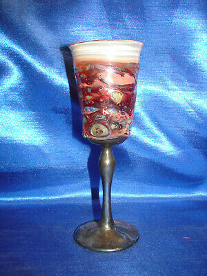 Silver Plated  Goblet Pudding Glass Wine Cup By King Solomon Finds