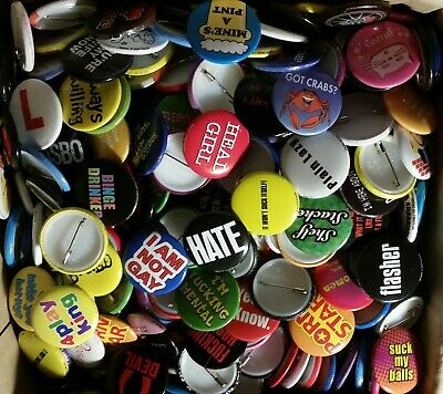 200 x Funny Type Badges Collectable 25mm Badges Job Rude Badges