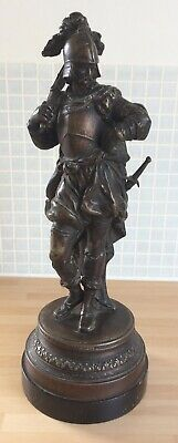 VINTAGE SPELTER/BRONZE? SCULPTURE: Soldier or Archer, about 36cm tall