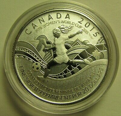 2015 Specimen $20 for $20 #15-FIFA Women's World Cup Canada .9999 silver COIN ON
