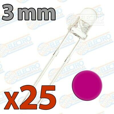 25x LED 3mm ROSA Alto Ultra Brillo ultrabright 20mA diodo diode pink