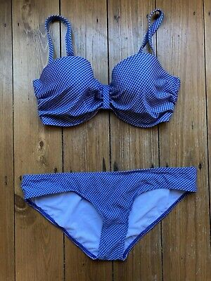 Blue Bikini Marks And Spencer Size 12 Padded Top Brief Bottoms