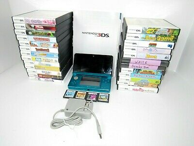 Nintendo 3DS Launch Edition Aqua Blue With 29 Games And Charger ( TESTED )