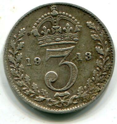 1913 Solid Sterling Silver Vintage Retro Threepence WW1 period George V