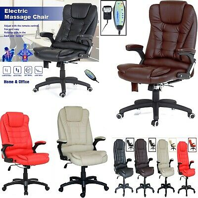 Leather Executive Gaming Computer Desk Office Swivel Reclining Massage Chair New