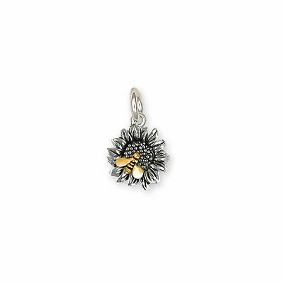 Sunflower Jewelry Silver And 14k Gold Handmade Sunflower With Bee Charm  SFTX2-B