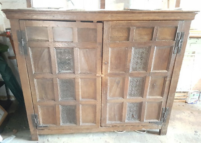 Jacobean / Tudor Antique Armoire Cupboard Wardrobe Entertainment Storage