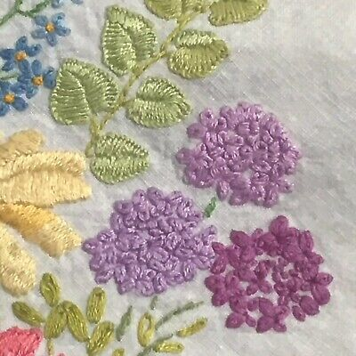 Vintage Beautiful  Hand Embroidery Very Large  Linen Tablecloth