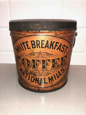 Vintage White Breakfast COFFEE Can Pail ANTIQUE TIN - National Mills - Orange