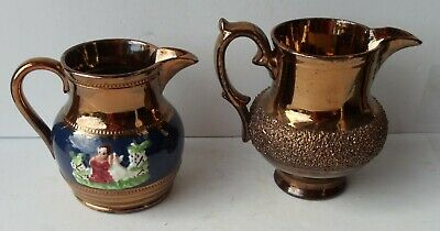 Pair Of Vintage Copper Lister Creamers, One With Monochrome Decoratons