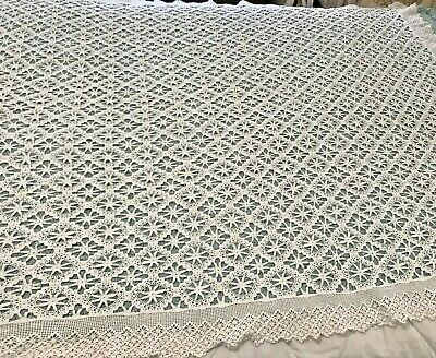 "Vintage Table Cloth Star Floral Chic Crocheted Cotton 3"" Trim 62""x64"" White ML28"