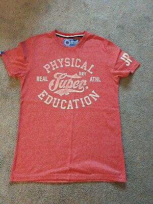 Mens Red Marl Superdry T-Shirt Size M