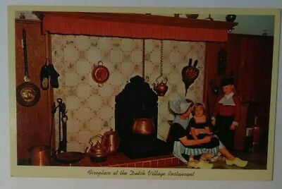 Vintage MICHIGAN Postcard Fireplace Dutch Village Restaurant Holland MI