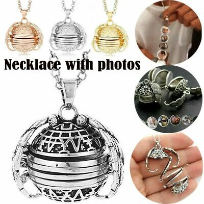 Expanding Photo Locket Necklace Silver Ball Angel Wing Pendant Memorial Gift