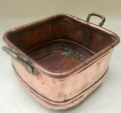 Antique French Rustic Square Copper Handmade Jardiniere With Two Brass Handles
