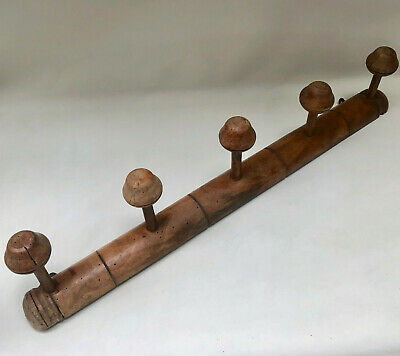 Antique French Wooden Coat Rack Or Hat Rack With Five Turned Wooden Knobs