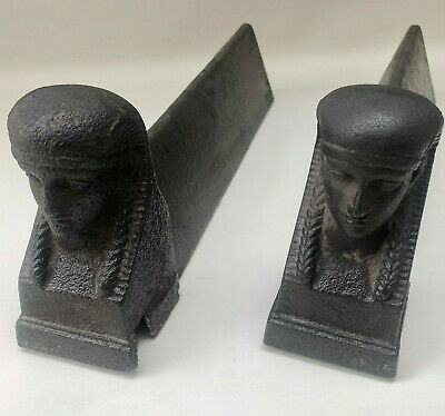 Antique French Pair Of Eqyptian Inspired Sphinx Heavy Cast Iron Fire Dogs