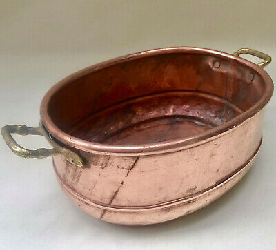 Antique French Oval Shape Copper Handmade Jardiniere With Two Brass Handles