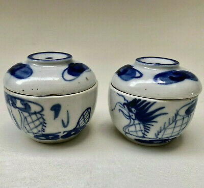 Antique Japanese Matching Pair Of Ceramic Sometsuke Hand Painted Miso Bowl & Lid