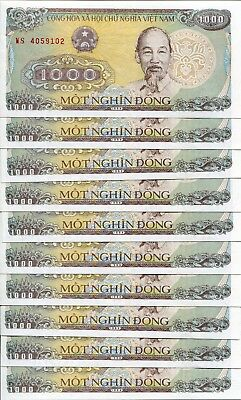 1988 Lot 10 1000 Dong Vietnam Ho Chi Minh Communist UNC Mint Elephant Logging