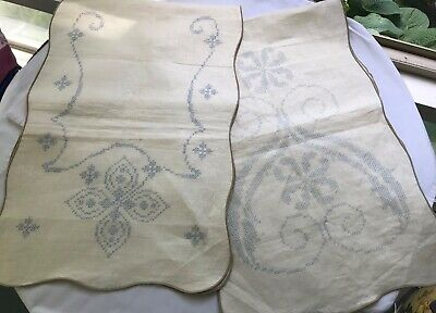 Vintage 100% Linen Stamped Table Runner/Scarf To Embroider, lot of 2