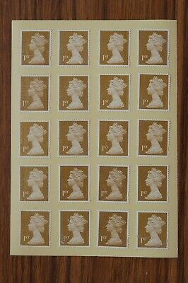 100 Gold Unfranked 1st First Class Security Stamps - Gummed - With Minor Faults