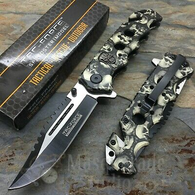 Tac Force Tactical Outdoor Gray Skull Camo Spring Assisted Pocket Knife