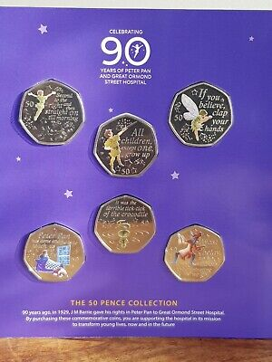 2019 The Peter Pan 50 pence + Col Decal NEW MINT 50 p Coin