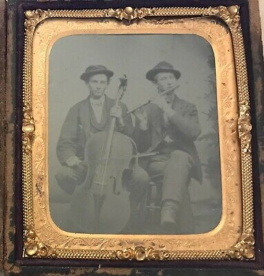 6th Plate Tintype of Twin Brothers Musicians Playing Cello And Flute.