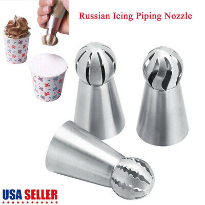 3Pcs Russian Tulip Flower Cup Cake Icing Piping Nozzles Decor Tips Baking Tools
