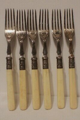 HH&S Henry Hobson Sheffield Antique Etched Forks Silver Plate Cutlery 6 Forks