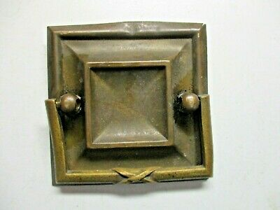 "Antique 2-9/16"" Square A316 Drop Pull Bail Handle Aged Dark Brass 1-3/4"" Holes"