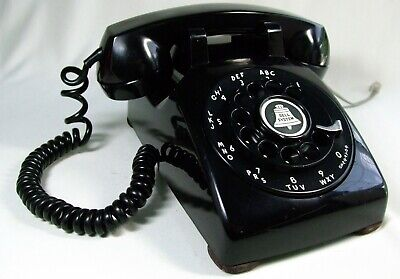 Vtg Oct 1954 BLACK Rotary Dial Telephone Western Electric 500 Restored Works!