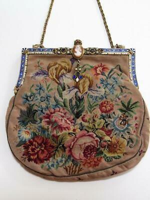 Antique Victorian Petit Point Tapestry Purse w/ Enamel,Jewels & Cameo Looks New