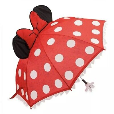 Disney Parks Classic Minnie Mouse Polka Dots Ruffle Ears Red Pop Up Umbrella