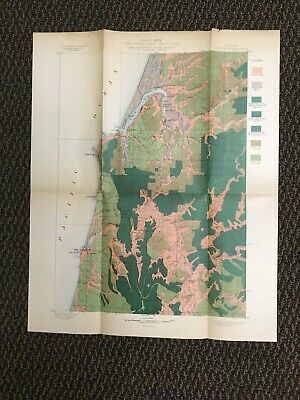 Vintage USGS Coos Bay Oregon 1899 Topographic and Timber Map