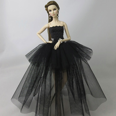 Black Ballerina Evening Wedding Dress Suits Barbie Doll Clothes (Doll Not Incl)