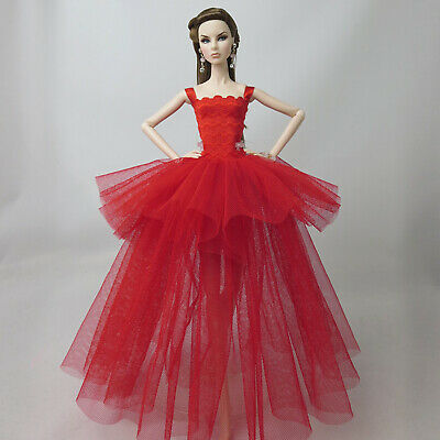 Red Ballerina Evening Wedding Dress Suits Barbie Doll Clothes (Doll Not Incl)
