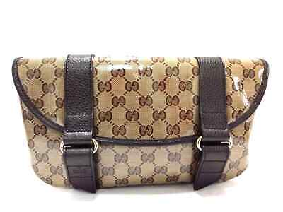 435668f97f857 Auth GUCCI Crystal GG 374617 Dark Brown Coated Canvas Leather Bum Bag