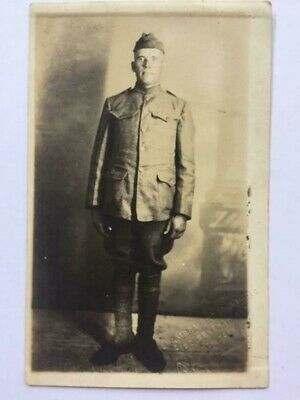 Antique RPPC Real Photo Postcard WW1 Military Soldier 1918 Alhambra New York