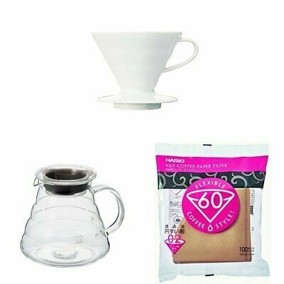 Hario Coffee Dripper Ceramic White Range Server Dedicated Paper Filter 1 Set