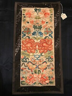FAB! 19thc Finely Forbidden Stitch Embroidered Chinese Sleeves Rank Badge Signed